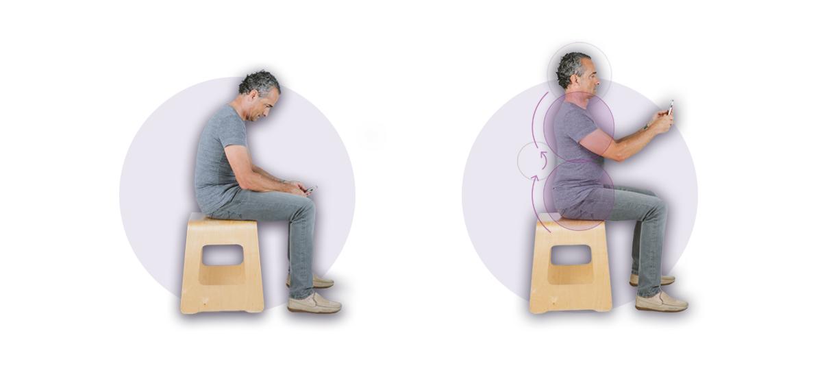 Foto explicativa postural de chico sentado, práctica de bowspring